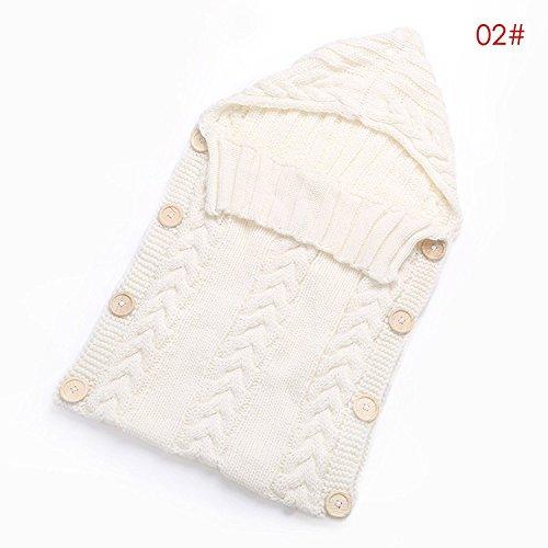 Neugeborenes Babydecke Wrap Swaddle Decke, Yezelend Baby Kinder Kleinkind Wolle Knit Decke Swaddle Schlafsack Schlaf Sack Stroller Wrap für 0-12 Monate Baby (White)