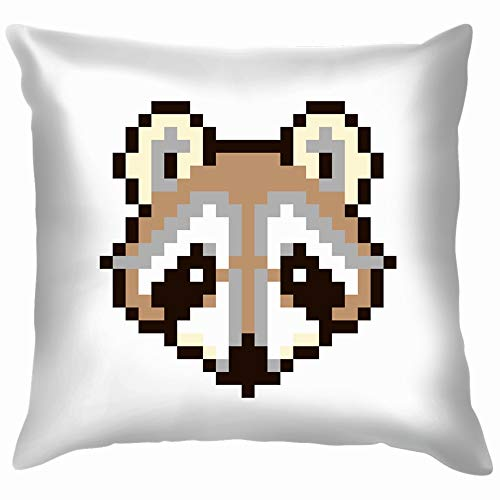 beautiful& Pixel Raccoon Isolated On White The Arts Funny Square Throw Pillow Cases Cushion Cover for Bedroom Living Room Decorative 18X18 Inch (Cooles Deck Patch)