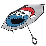 SES-Ame Street Cookie Monster Sombrero de Navidad Doble Capa invertido Paraguas para el Reverso del Coche Plegable hacia Abajo con Forma de C Manos - Ligero y Resistente al Viento - Regalo Ideal
