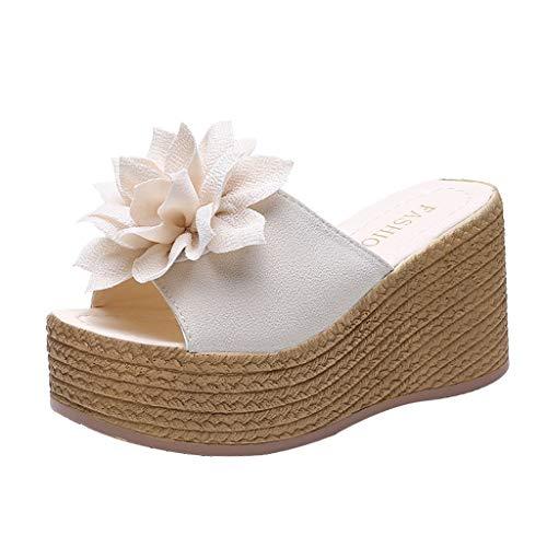 Pingtr - Damen Hausschuhe,Frauen Sommer große Blume Wedges Plattform Sandalen Pantoffeln Beach Walk Schuhe