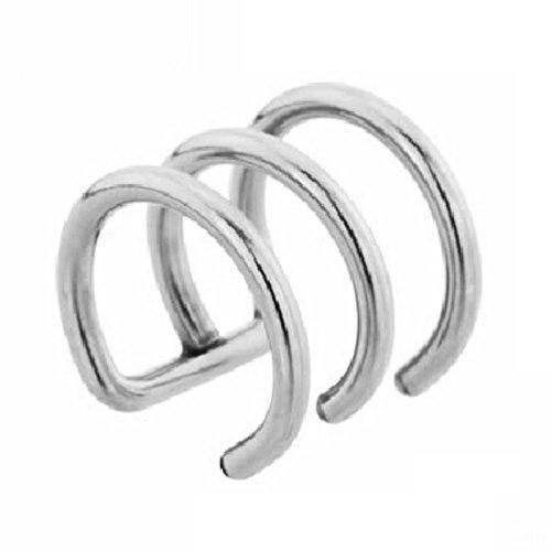 eeddoo Tragus-Piercing Ohrklemme 3 reihig Silber Edelstahl 1,6 x 14 x 14mm mm