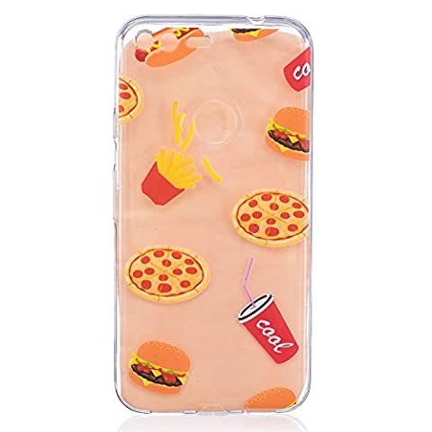 Google Pixel Covers, Google Pixel Case - Google Pixel Transparent Case, Cozy Hut TPU Clear Soft Silicone Back Colorful Printed Flower Pattern Silicone Case Protective Cover Cell Phone Case for Google Pixel Bumper Case [Ultra Slim], Flexible Soft TPU [Drop Protection+Shock Absorption+Anti-Scratch] Protective Case Cover for Google Pixel - Coke