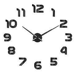 Idea Regalo - SOLEDI Orologio da Parete Silenzioso Preciso Fai da Te 60-120cm Facile da Montare Effetto 3D Riempire Vuoto Parete Moderno Adesivo Orologio Parete Decorazione per Casa, Ufficio, Hotel (Argento/Nero)