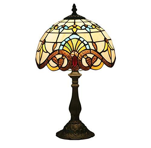 Lampada da tavolo in stile tiffany lampada da comodino in vetro colorato lampada da comodino lampada da comodino calda barocca per soggiorno camera da letto tavolino da caffè, 10 pollici.,resinbase