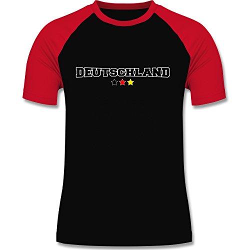 EM 2016 - Frankreich - Deutschland College Schriftzug - zweifarbiges Baseballshirt für Männer Schwarz/Rot