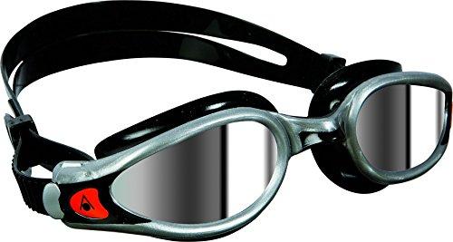 Aqua Sphere - Occhialini da nuoto, modello Kaiman, regular fit, lenti con effetto specchiato, colore: argento/nero