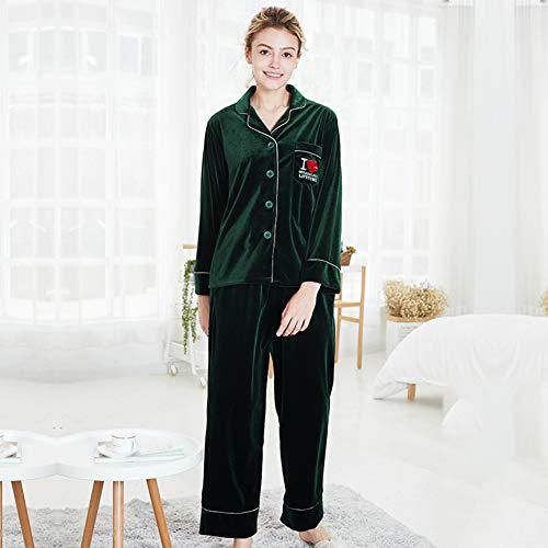 Velvet Ladies Pyjamas Winter Langärmeliger Zwei Teiliger Anzug Home Service,Green,XL
