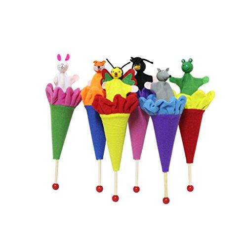 Lamdoo 6 Stück Tierpuppen verstecken & suchen Baby Kinder Pop Up Kegel Spielzeug Lernspielzeug