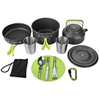Aitsite Camping Cookware Kit Outdoor Aluminum Lightweight Camping Pot Pan Cooking Set for Camping Hiking 8