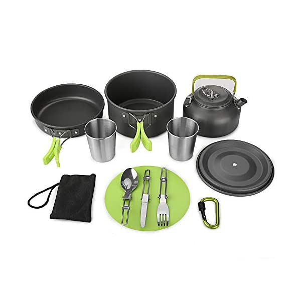 Aitsite Camping Cookware Kit Outdoor Aluminum Lightweight Camping Pot Pan Cooking Set for Camping Hiking 1