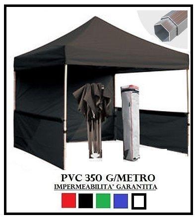 Gazebo pieghevole nero alluminio esagonale 40mm 3x3 + 4 teli laterali pvc 350 g metro