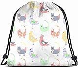 Modello colorato Gatti Uccelli su Animali Bianchi Animali Selvatici Stampa 3D Zaino con Coulisse Zaino Borse a Tracolla Borsa da Palestra 17X14 Pollici alla Moda 5988