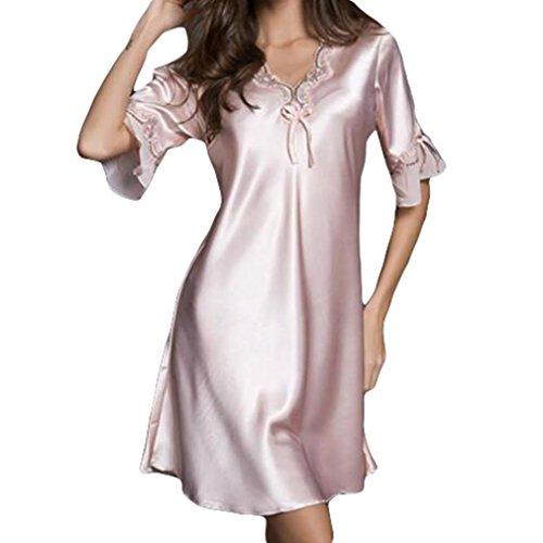 Juleya donne sexy in raso pigiameria in seta sintetica camicia da notte mezza manica ricamo camicia da notte sexy lingerie rosa m