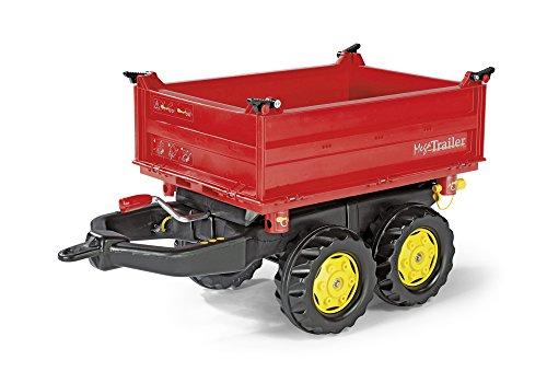 *Rolly Toys 123001 Anhänger rollyMega Trailer, in 3 Richtungen Kippbar; mit Gewindekurbel, mit Heckkupplung (für Kinder ab 3 Jahren geeignet, zwei Achsen, Farbe Rot, Radkappen Farbe Gelb)*