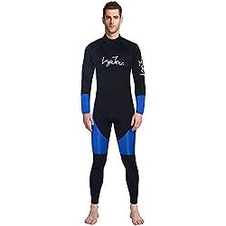 LayaTone Combinaisons Hommes Premium Combinaison Néoprène 3mm Combinaison de Plongée Complète pour Plongée sous-Marine Plongée Surf Plongée Natation Kayak Nautisme Pêche