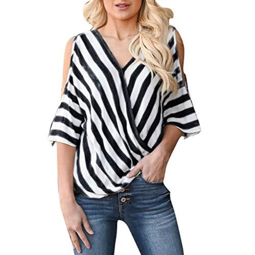 Zegeey Damen T-Shirt V-Ausschnitt Schulterfrei Kurzarm Gestreift Streifen Sommer Oberteil Blusen Tuniken Pullover Tunika Tuniken Tops Shirts Hemd(Schwarz,EU-36/CN-M
