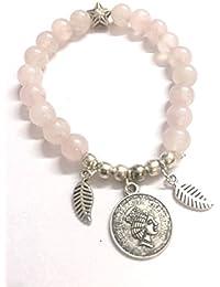 Round Beaded Charms Rose Quartz Bracelet