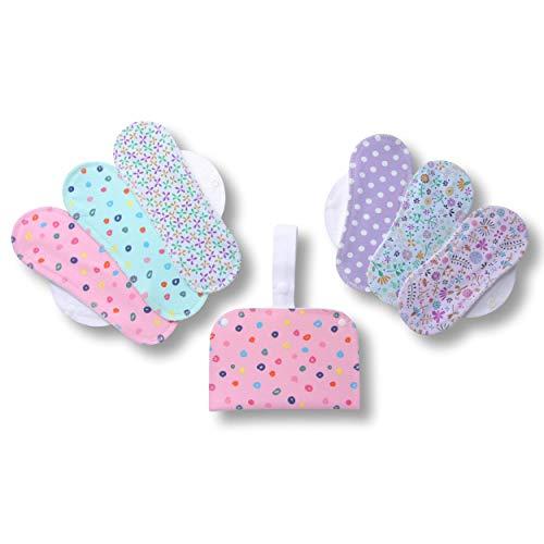 Waschbare Stoffbinden, 6er Pack (Größe: S+M) Baumwolle Wiederverwendbare Binden mit Flügeln; MADE IN EU; Damenbinden für Menstruation, Inkontinenz; Stoffbinden aus Baumwolle ohne Chemikalien -