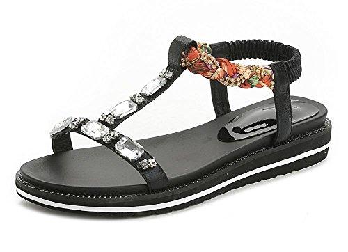 Sandálias De Verão Chinelos Strass Vintage E Mulheres Negras De Salto Baixo