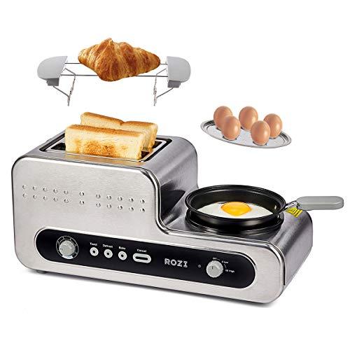Rozi Grille Pain 5 en 1 avec Poêle Grille Pain Multifonction 2 Tranches , Fabricant de petit déjeuner pour Grille-pain / Cuisson Au Four / Vapeur / Ébullition / Cuisson 1230W (Argent)