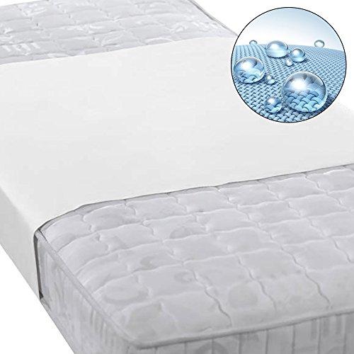 Beautissu Protector cubre colchón Molton BEAUTECT impermeable transpirable incontinencia banda central Blanca 90x160 cm