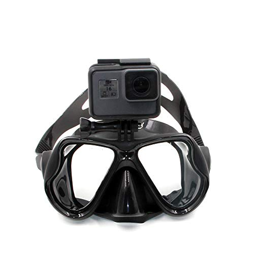 Eyeon Masque de plongée en Silicone Masque de plongée avec Tuba avec Verre trempé et Support caméra pour GoPro, Xiaomi YI, SJCAM, Apeman, Crosstour, Victure, Campark AKASO pour Adultes et Jeunes