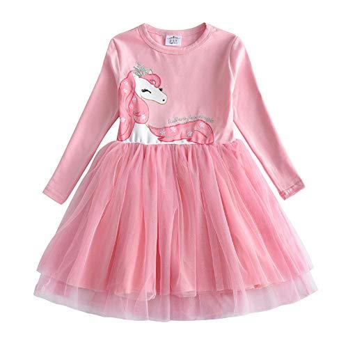 VIKITA Mädchen Kleider Sommerkleid Blume Baumwolle Lässige Kinderkleidung Gr. 92-128 LH4579 5T