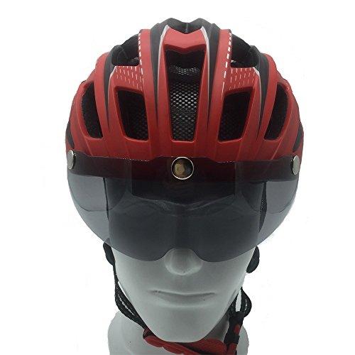 ScottEdward 9 x Farben Fahrradhelm, Erwachsene Männer und Frauen Sport Fahrradhelm für Road & Mountain Biking, Leichtgewicht mit abnehmbaren magnetischen Visier Schild Brille Helm, Rot