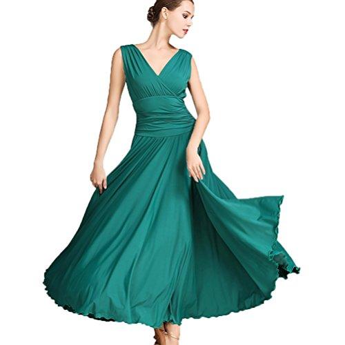 Kostüm Und M Green M - V-Ausschnitt Nationaler Standard Ballroom Tanzkleid für Frauen Temperament Übungskleid Trikot Modern Walzer Tango Tanzen Performance Kostüm, Green, M