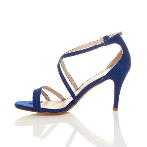 Donna tacco alto medio cinghietti incrociato matrimonio sera sandali taglia Blu Cobalto Scamosciata