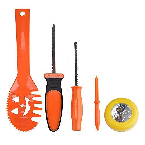 Halloween Calabaza Set–Juego de herramientas para tallar schnitzen, Juego de elementos decorativos con cuchillo, cuchara, rueda de broca, aguja y 9schn itzvo rlagen–13piezas
