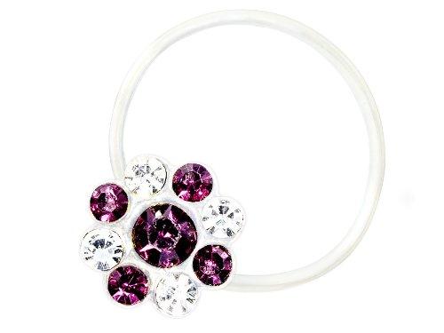 Zehenring Zirkonia Blume klar lila - 925 Sterling Silber - Fuß Schmuck Damen Fuß-Ring Toe-Ring