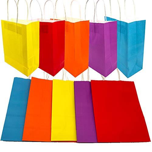 Aisamco 30 Stück Papier Party Taschen Geschenktüte Kraftbeutel mit Griff in Mehrfarben für Geburtstag Tea Party Weihnachten Hochzeit und Party Feiern (Papier-tasche Mit Griff)