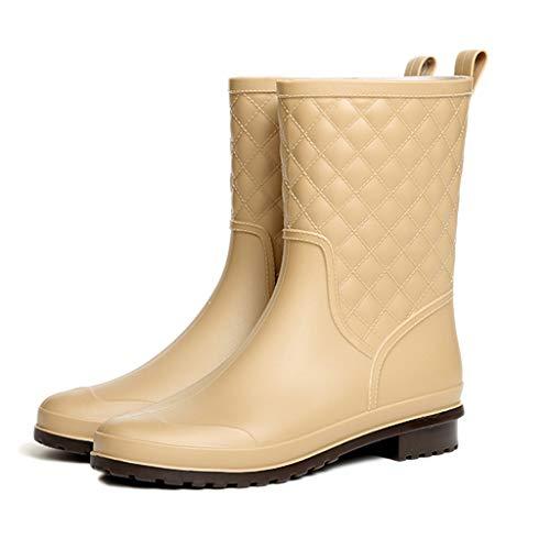 nihiug Regenstiefel Gummistiefel für Regenwetter wasserdichte Regenschuhe Easy Clean Reisen Mode Plaid beiläufige Gummischuhe Erwachsene Regenstiefel,Yellow-37 -