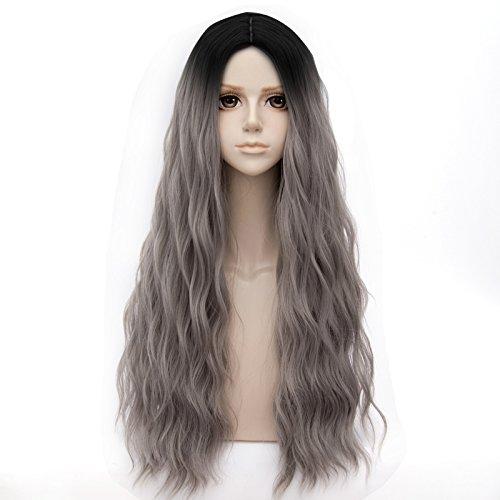 (EDAY Perücken für Frauen lange lockige Farbverlauf dunkle Wurzel Perücke Farbverlauf schwarz graue Perücken Lolita Cosplay Costome Party Perücke)