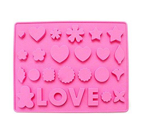 Cosanter Moule en silicone réutilisable forme amour étoiles Love fantaisie Gelée Chocolat Gâteau Fait à la main Outils de décoration