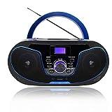 Radio Portatili Boombox, LONPOO Lettore CD Portatile Bambini Stereo Audio con Bluetooth / Radio FM / USB / ingresso AUX / Uscita Cuffie/ 5 EQ (Nero+Blu)