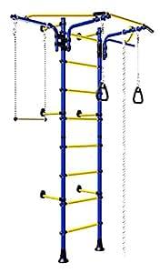 Bleu mural pour enfant Motif aire de jeu/d'entraînement de gymnastique/de Sport avec accessoires et équipements: Trapèze barre plantes grimpantes, jeu, Jump Rope Corde d'escalade, la gymnastique Comet Next 2 anneaux