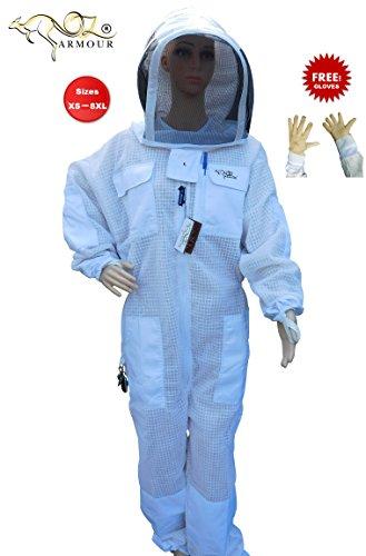 Bienenzucht Full Anzug belüftet Ultra Cool mit Kapuze 3Lagen Mesh mit Kuh Hide belüftet Bienenzucht (Kostüm Imker)