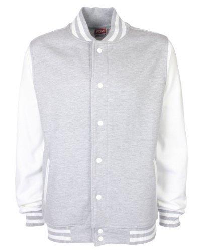 FDM Unisex Varsity Jacke Herren/Womens Schwerere Baumwolle Baseball College Sweatshirt - Grau meliert/Weiß, unisex-erwachsene, XS Baseball-sweatshirt