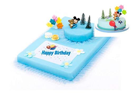 tag Mickey Mouse Baby 10 teilig Tortenaufleger Kuchen Deko Torten Deko Kindergeburtstag 1.Geburtstag Junge ()