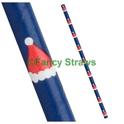 FancyStraws Weihnachten Royal Blau mit rot und weiß Santa Hüte Papier Trinkhalme, 25Stück