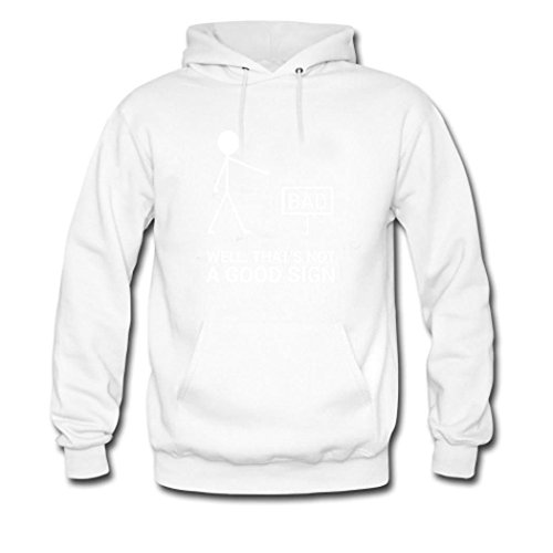 HGLee Printed Personalized Custom Well That's Not a Good Sign Women's Hoodie Hooded Sweatshirt white