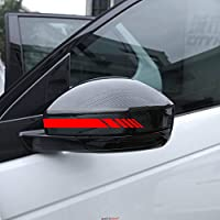 Autodomy Car Rearview Mirror Stickers with Stripes Fringes Design Pack 6 units with different widths for Car (Fluorescent Red)