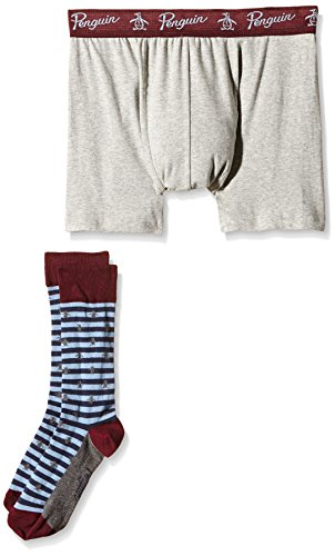 Original Penguin 1 Pk Mens Socks And Underwear Gift Set Grey Navy Stripe Aop-Boxer Uomo    grigio Small