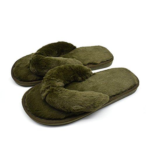 COFACE Damen Elegantes Bett Hausschuh Warmer Plüschfell Flip Flops Baumwolle Pantoffel Rutschfeste Schuhe für Herbst/Winter in 4 Farben (EU 38/39, Dunkelgrün)