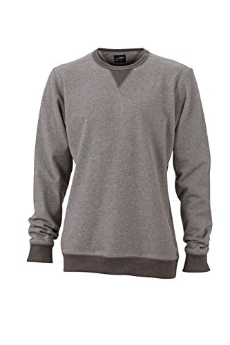 James Nicholson Herren Basic Sweat Sweatshirt Grau GreyMelange/BlackMelange