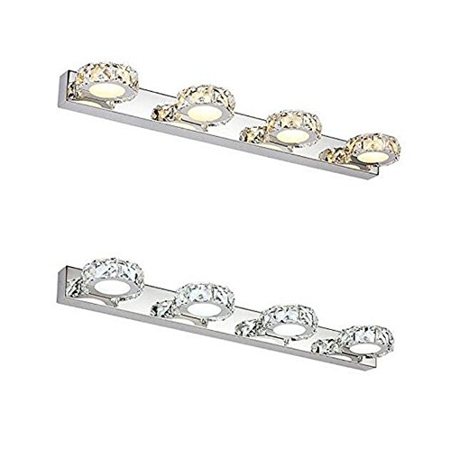 Loolaa Edelstahl-Runde Spiegel-Licht-Einfache Kristallspiegel-Frontlicht-Badezimmer-Badezimmer-Beleuchtung,A - Bad-wärme-lampen