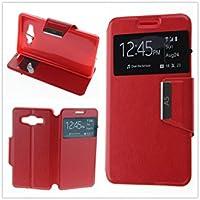 MISEMIYA - Coque Étui pour Samsung Galaxy A5 2016 (A510F) - Étui + Protecteur Verre Trempé, COVER-VIEW avec support,Red