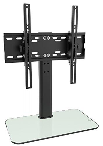 RICOO TV Ständer Universal Fernsehtisch Standfuß Halterung Neigbar FS314W Glas Höhenverstellbar Fernsehstand LCD LED Fernseher Stand Flachbildschirm Aufsatz Möbel RackTischständer VESA 400x400
